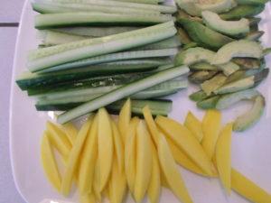 groente en fruit bij de sushi