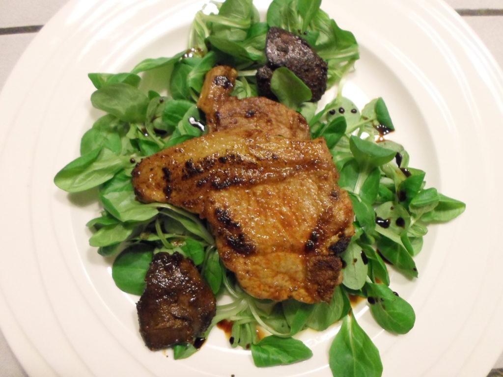 Lamskotelet met kippenlevertjes